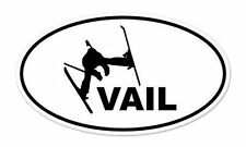 "Vail Skier Skiing Oval car window bumper sticker decal 5"" x 3"""