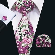 C-1335 New Hot Mens Cotton Ties Red Floral Ties Set Tie Hanky Cufflink Necktie