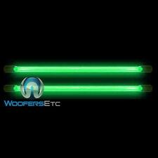 "2 GREEN TIP NEON 24"" INCH BRIGHT CAR 12 VOLT LIGHT GLOW TUBE BARS PAIR NEW"