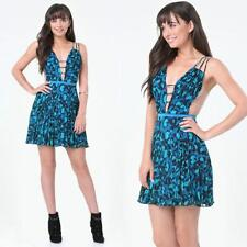 BEBE BLUE PRINT PLEATED STRAPPY TULLE DRESS NWT NEW $129 MEDIUM M 8