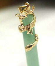 Yellow Gold Plated Dragon Coil Natural Light Green Jade Pendant & Necklace