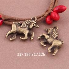10X Antique Bronze horse Charm Pendant Beads Jewellery Findings 18mmx16mm GU406