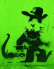"BANKSY STREET ART *FRAMED* CANVAS PRINT Gangsta rat green 20x16"" stencil -"