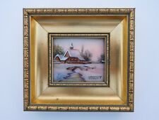 Beautiful 1900s French Enamel Copper Winter Snow Bridge Cottage Church Painting