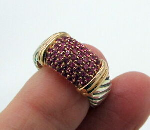 David Yurman Sterling Silver 18K Rose Gold Pink Sapphire Metro Cable 10mm Ring