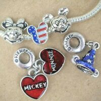 Disney Minnie Loves Mickey Sorcerer Hat Patriotic USA Mouse European Bead Charms