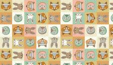 Makower doodle days multi heads fox owl rabbit half metre 100% cotton free p+p.