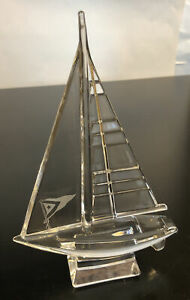 JG Durand Lead Crystal Sail Boat Figurine France with Flag Engraved