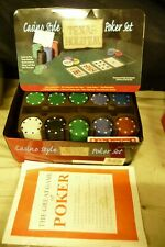 Poker roulette card game Chips & cards + metal tin TEXAS HOLD EM