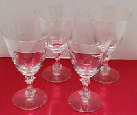 Vtg Etched Wavy Line Crystal Clear Wine Glass Water Goblet Stemware Set of 4