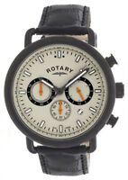 Rotary Men's Grey Dial Black Leather Strap Chronograph Watch GS00482/32 43.5mm