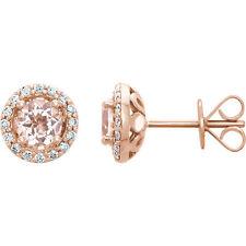 MORGANITA & 1/5 CTW Diamante Pendientes en 14k oro rosa (1/5 CT. TW