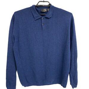 J. Ferrar 100% Merino Wool Polo Navy Blue Sweater Men's XL