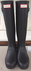 HUNTER Ladies' Original Tall Matte Rain Boot in Black, multiple size