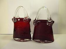 "ANTIQUE MURANO HANDCRAFTED RUBY RED ART GLASS PURSE VASES,TWO 8""TALL"