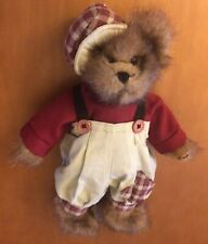 "Bearington Collection Boy Bear In Plaid Overall Outfit 9"" Named Tom #1074"