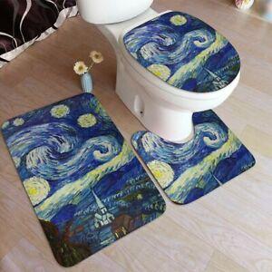 Starry Night Van Gogh 3 Piece Bathroom Rug Set Bath Mat Set Lid Cover Seat Cover