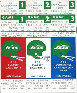 1983 New York Jets Phantom Post Season Tickets Games 1-2-3 Shea Stadium
