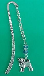 Tibetan Silver Bookmark- BLUE BEADS & PUG DOG. PRESENT/GIFT.