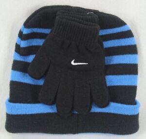 Nike Boys Swoosh Beanie Hat & Gloves 2PC Set Blue Black Stripe Size 8/20 NWT
