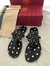 Tory Burch MILLER Navy Classic Dot Soft Printed Patent Leather Sandal Sz 10 New