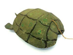 Homemade Wood Wooden Paper Mache Pull Toy Headless Turtle Rolling Tail Shell