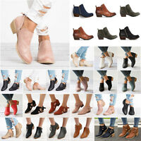 Womens Low Heel Block Ankle Boots Ladies Slip On Chunky Casual Work Shoes Size