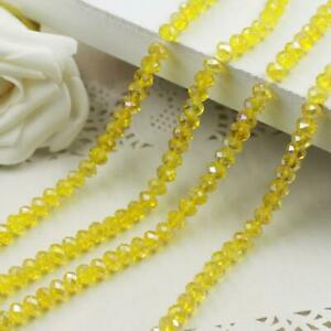 Faceted Rondelle Bicone Glass Crystal Loose DIY Beads Assorted 4mm 69pc yellowAB