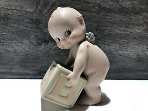 """KEWPIE BISQUE DOLL JESCO 1992 WITH TOY BLOCK 3"""" TALL"""