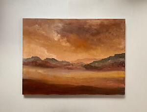 Original Oil Painting Mountain Landscape Cloudscape Vtg Signed Picho 1981