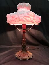 Pittsburgh P.L.Brass & G. Co Lamp with Fenton L G Wright Pink Puffy Rose Shade