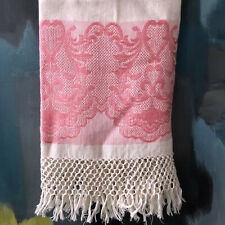 "Antique Victorian Edwardian Damask Linen Bath Towel Red Colorful Fringed 22"" W"