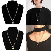 silver couleur longue chaîne petit collier col déclaration collier de cadenas
