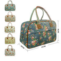 Matte Canvas Flowers Floral Weekend Maternity Travel Bag Hand Holdall Luggage