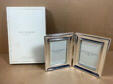 Pottery Barn Silver Sentiment Frame - Two Hinged 4 X 6 Openings