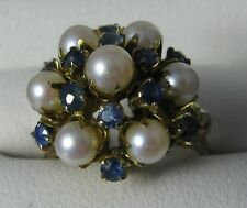 Ladies Vintage Pearl & blue Sapphire cluster ring yellow & rose gold jewelry sz5
