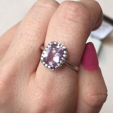 Sterling Silver .925 Genuine Stone purple Amethyst halo engagement ring size 8.5
