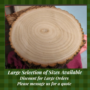 Natural Wood Log Slices Tree Bark Rustic Wedding Table Centerpiece Cake Stand