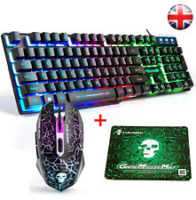 【UK Layout】Wired Rainbow Backlit Usb Gaming Keyboard + 2400DPI Gamer Mouse Combo