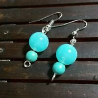 Glass beads w/howlite stone earrings, blue ,silver color, handmade