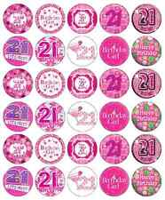 30x 21st Birthday Girl Pink Cupcake Toppers Edible Wafer Paper Fairy Cake Topper