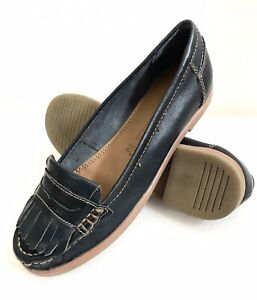Marco Tozzi Damen Mokassins Slipper Flats Gr. 38 UK 5 Blau Leder