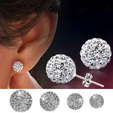 925 Sterling Silver Round Crystal Ball Earrings Women Ear Stud Studs 6 8 10 12mm