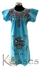 NEW Embroidered Pueblo Peasant Hand Embroidered Mexican Dress Hippie Vintage