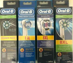 8 BRUAN ORAL B REPLACEMENT HEADS, PRECISION CLEAN, 3D WHITE, CROSS ACTION NEW