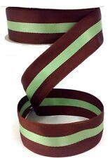 "Brown Fabric Ribbon~Mint Green Stripe. Monofilament Edge. 1 1/2"" W x 50 yd."