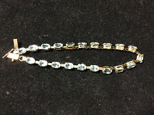 VINTAGE 10K YELLOW GOLD BLUE TOPAZ TENNIS BRACELET