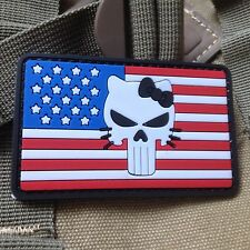 PUNISHER SKULL Hello Kitty USA FLAG 3D RUBBER PVC MORALE  TACTICAL PATCH