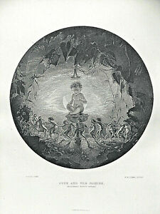 """Original, antique engraving, """"Puck and the Fairies"""" by Lizars after Dadd, 1870"""