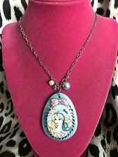 Tarina Tarantino Barbie Portrait Cameo Blue Swarovski Crystal Lucite Necklace